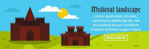 Concepto horizontal de la bandera medieval del paisaje del castillo ilustración del vector
