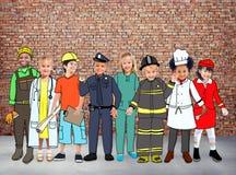 Concepto ideal de los empleos de la diversidad de los trabajos de los niños de los niños Imagen de archivo libre de regalías