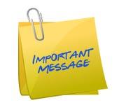 Concepto importante de los mensajes en un post-it stock de ilustración