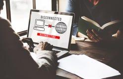 Concepto inaccesible del error disconnected de la desconexión fotografía de archivo libre de regalías
