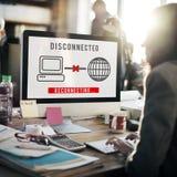 Concepto inaccesible del error disconnected de la desconexión fotos de archivo libres de regalías