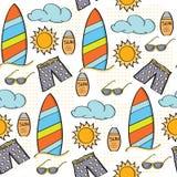 Concepto inconsútil de las vacaciones de verano del modelo de la historieta del garabato stock de ilustración
