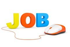 Concepto independiente. Ratón de Job Sign y del ordenador Fotografía de archivo libre de regalías