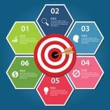 Concepto infographic de la flecha del tablero de dardo de la blanco del negocio de logro de las metas libre illustration