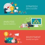 Concepto infographic del estilo del éxito empresarial de la blanco plana de la estrategia Foto de archivo libre de regalías