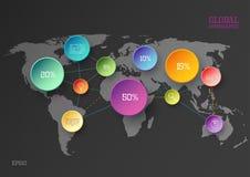 Concepto infographic del mapa del mundo Fotografía de archivo libre de regalías