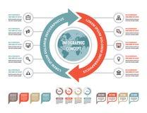Concepto infographic del negocio - disposición creativa del vector con los iconos Ejemplo del globo y de las flechas Círculos y c Imagen de archivo