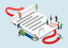 Concepto infographic del web 3d gente isométrica plana del contrato de la mini Imágenes de archivo libres de regalías