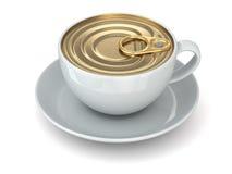 Concepto inmediato del coffe. Taza y casquillo de la poder. Fotografía de archivo libre de regalías