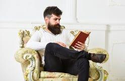 Concepto inteligente El científico, profesor en cara pensativa explora la literatura El hombre con la barba y el bigote se sienta fotos de archivo