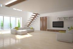 Concepto interior blanco para la sala de estar Imagenes de archivo