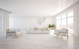 Concepto interior blanco para la sala de estar Imágenes de archivo libres de regalías