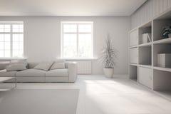 Concepto interior blanco para la sala de estar Foto de archivo libre de regalías