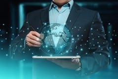 Concepto internacional de la tecnología de Internet de la red del negocio del globo de Digitaces imagen de archivo libre de regalías