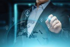 Concepto internacional de la tecnología de Internet de la red del negocio del globo de Digitaces fotografía de archivo