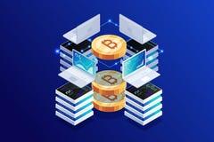 Concepto isométrico de bitcoin minero en azul marino stock de ilustración