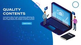 Concepto isométrico de contenido de la calidad adornado con el carácter de la gente para la página web y el desarrollo móvil de l libre illustration