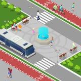 Concepto isométrico de la ciudad moderna Fuente de la ciudad con los niños Trayectoria de la bicicleta con la gente del montar a