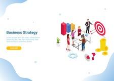 Concepto isométrico de la estrategia empresarial 3d con la gente del equipo que trabaja junto para la bandera u homepage de aterr stock de ilustración