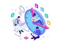 Concepto isométrico de la gestión de tiempo eficaz Los hombres de negocios de los planes y organizan la hora laborable, plazos de ilustración del vector
