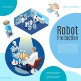 Concepto isométrico de la inteligencia artificial stock de ilustración