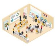 Concepto isométrico de la oficina de Coworking stock de ilustración