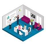 Concepto isométrico de la reunión de negocios stock de ilustración