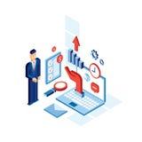 Concepto isométrico de la tecnología de comunicación empresarial de Successful del hombre de negocios Fotografía de archivo libre de regalías