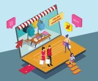 Concepto isométrico de las ilustraciones de compras en línea a través del teléfono móvil stock de ilustración