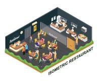Concepto isométrico de las ilustraciones del restaurante de consumición de la gente stock de ilustración