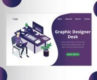 Concepto isométrico de las ilustraciones de Desk del diseñador gráfico de un diseñador que trabaja para un cliente stock de ilustración
