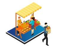 Concepto isométrico de las ilustraciones de fruta que vende al vendedor libre illustration