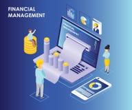 Concepto isométrico de las ilustraciones de gestión financiera en línea en el ordenador portátil stock de ilustración