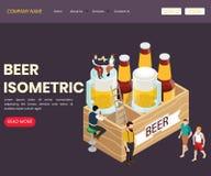 Concepto isométrico de las ilustraciones de la barra y del restaurante de la cerveza stock de ilustración