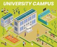 Concepto isométrico de las ilustraciones de la descripción del campus universitario libre illustration