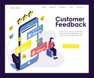 Concepto isométrico de las ilustraciones de la forma de los comentarios de clientes stock de ilustración
