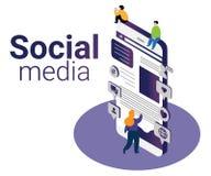 Concepto isométrico de las ilustraciones de márketing social de los medios para ayudar a negocio para crecer ilustración del vector