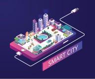 Concepto isométrico de las ilustraciones de Smart City stock de ilustración