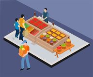 Concepto isométrico de las ilustraciones de vendedor vegetal que vende verduras libre illustration