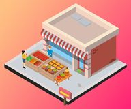 Concepto isométrico de las ilustraciones de venta de la tienda de frutas y de la verdura stock de ilustración