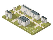 Concepto isométrico del campus universitario stock de ilustración