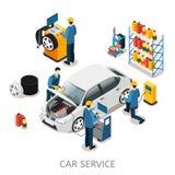 Concepto isométrico del centro de la reparación del coche libre illustration