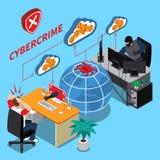 Concepto isométrico del crimen cibernético libre illustration