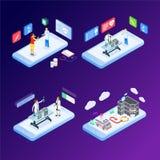 Concepto isométrico del diseño plano moderno de medicina y de atención sanitaria en línea para la bandera y la página web Plantil ilustración del vector