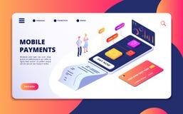 Concepto isométrico del pago en línea Actividad bancaria del app del teléfono móvil que hace compras Protección de la tarjeta de  stock de ilustración