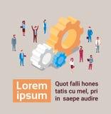 Concepto isométrico del trabajo en equipo y de la reunión de reflexión de la rueda dentada de Team Of Business People Over stock de ilustración