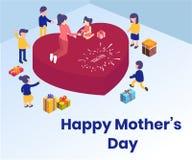 Concepto isométrico feliz de las ilustraciones del día de madre stock de ilustración