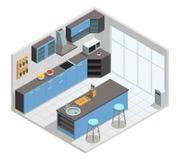 Concepto isométrico interior de la cocina Imagen de archivo libre de regalías