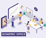 Concepto isométrico interior de las ilustraciones de la oficina corporativa stock de ilustración
