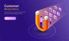 Concepto isométrico para la retención o la lealtad, adv del cliente del comprador libre illustration